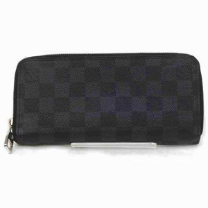 Auth Louis Vuitton Zippy Wallet Black #N0925V33